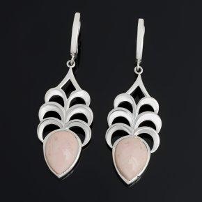 Серьги опал розовый Перу (серебро 925 пр.)