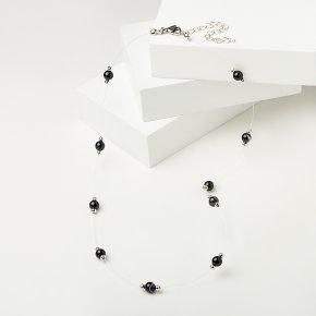 Бусы агат черный Бразилия (биж. сплав, сталь хир.) 6 мм 48 см (+7 см)