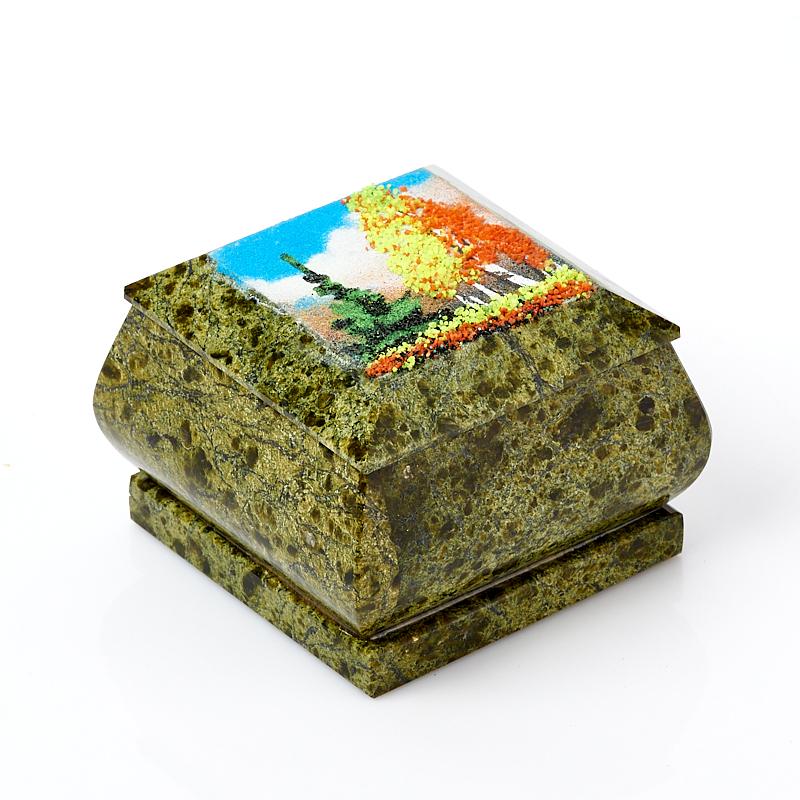 Шкатулка змеевик Россия 8х8х5 см