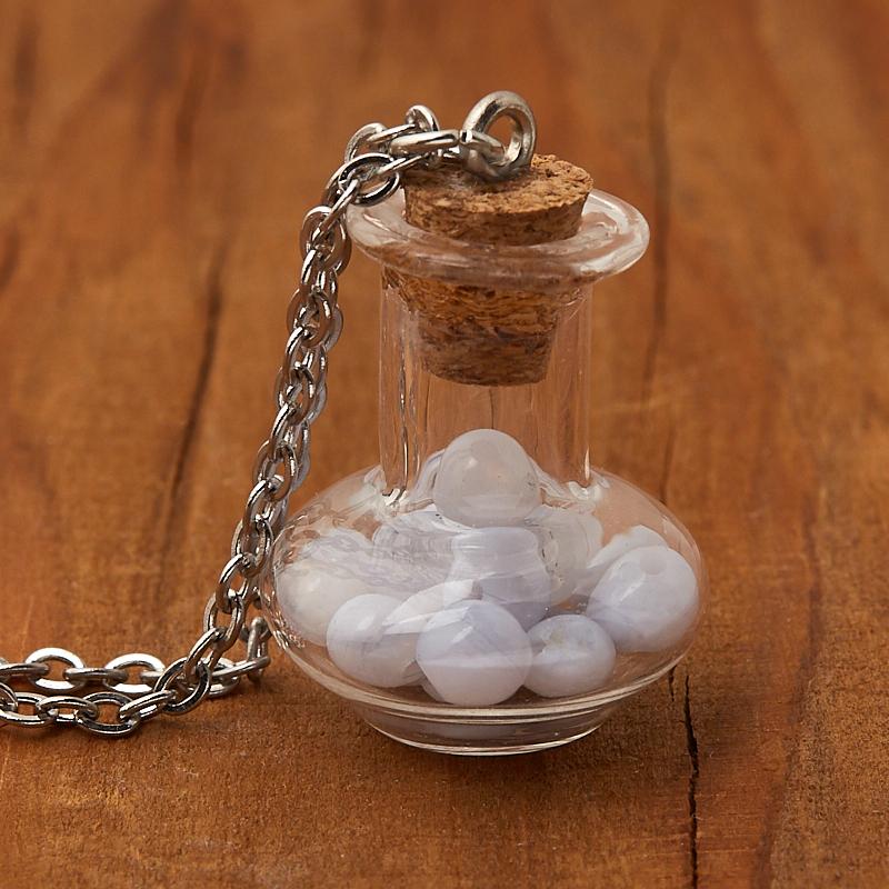 Кулон агат голубой  (биж. сплав, сталь хир., стекло) бутылочка 2,5 см