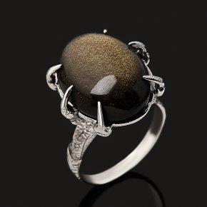 Кольцо обсидиан золотистый Мексика (серебро 925 пр. оксидир.) размер 18,5