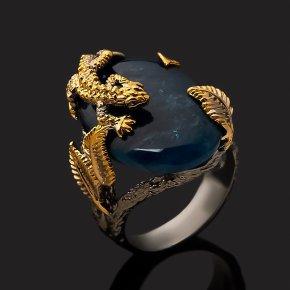 Кольцо апатит синий Бразилия (серебро 925 пр. позолота, родир. сер.) размер 19