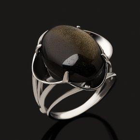 Кольцо обсидиан золотистый Мексика (серебро 925 пр.) размер 18,5