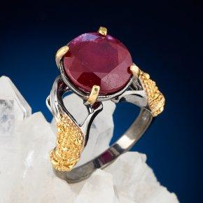 Кольцо корунд рубиновый Нигерия (серебро 925 пр. позолота, родир. сер.) огранка размер 18