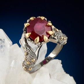 Кольцо корунд рубиновый Нигерия (серебро 925 пр. позолота, родир. сер.) огранка размер 17