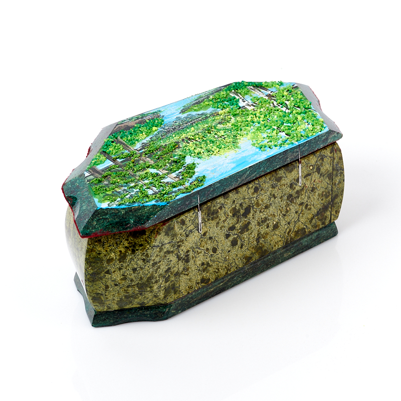 Шкатулка змеевик Россия 20х10х7,5 см