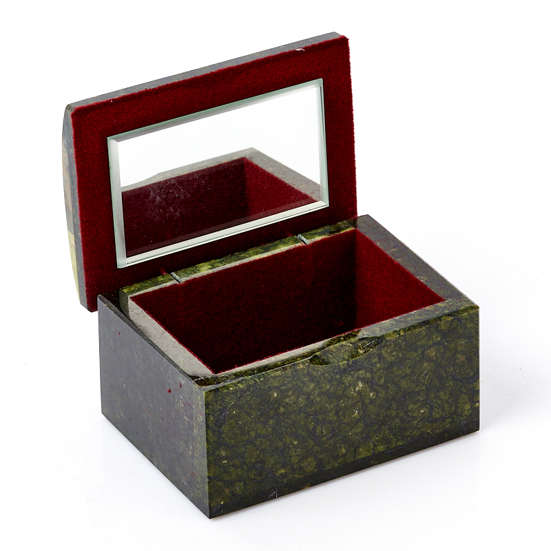 Шкатулка микс змеевик, офиокальцит, яшма 10,5х7,5х6,5 см
