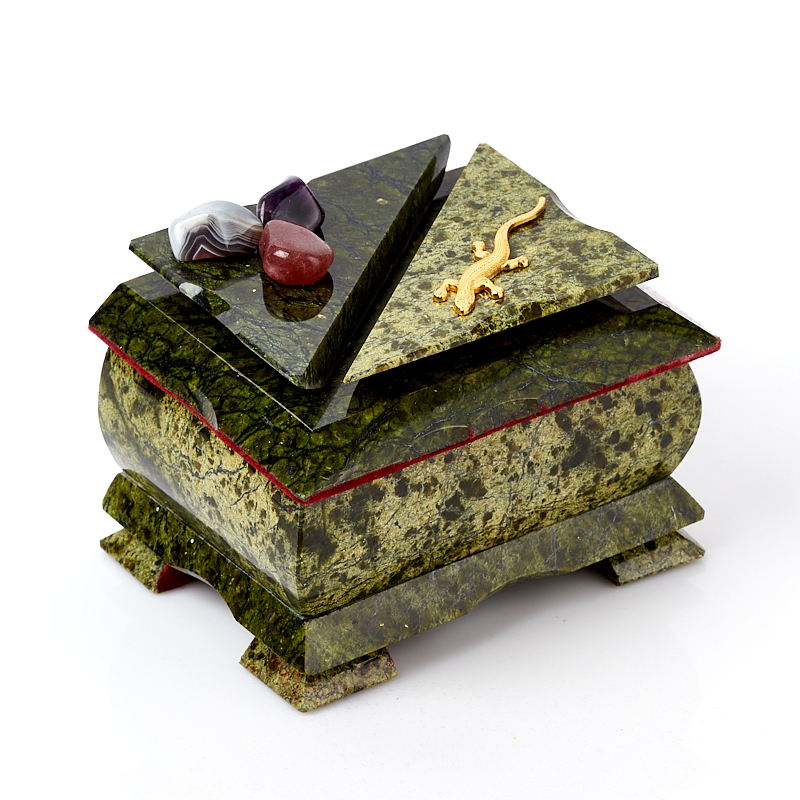 Шкатулка змеевик Россия 11,5х9х9 см