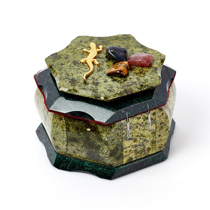Шкатулка змеевик Россия 10,5х10,5х7,5 см