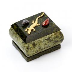 Шкатулка змеевик Россия 6,5х5,5х5,5 см