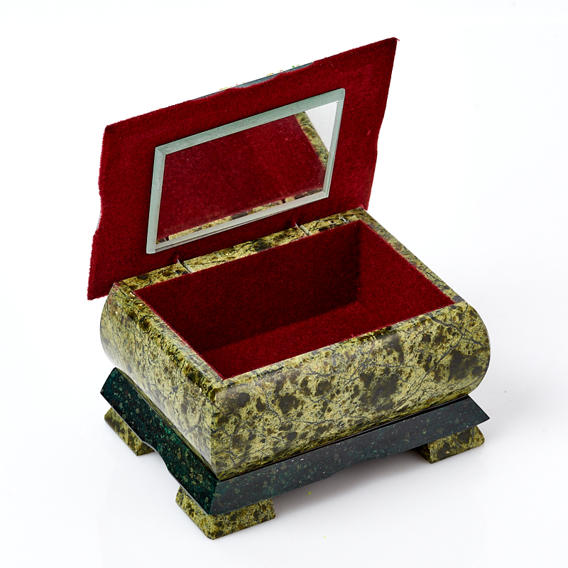 Шкатулка змеевик Россия 11,5х8,5х6,5 см