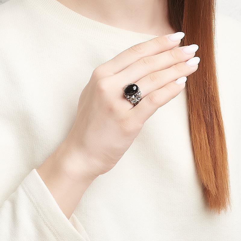 Кольцо агат черный Бразилия (серебро 925 пр. оксидир.) огранка размер 18,5