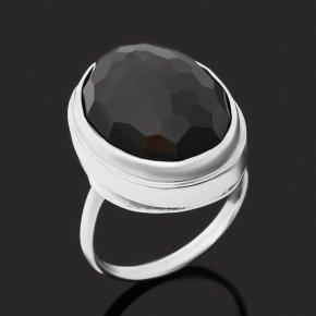Кольцо агат черный Бразилия (серебро 925 пр.) огранка размер 18