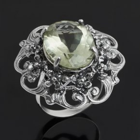 Кольцо празиолит Бразилия (серебро 925 пр. оксидир.) огранка размер 18,5