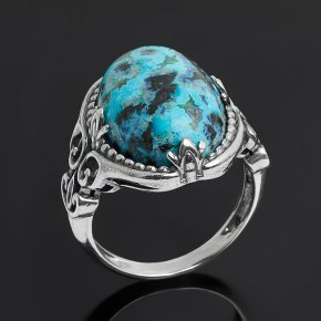 Кольцо хризоколла Конго (серебро 925 пр. оксидир.) размер 18,5
