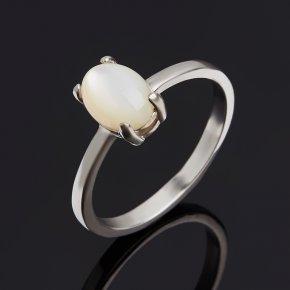 Кольцо перламутр белый Гонконг (серебро 925 пр. родир. бел.) размер 17