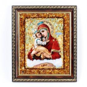 Изображение янтарь Россия Богоматерь Почаевская 14х16 см
