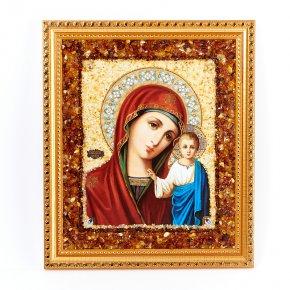 Изображение янтарь Россия Богоматерь Казанская 21х25 см