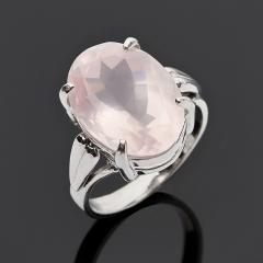Кольцо розовый кварц Бразилия (серебро 925 пр. родир. бел.) огранка размер 18