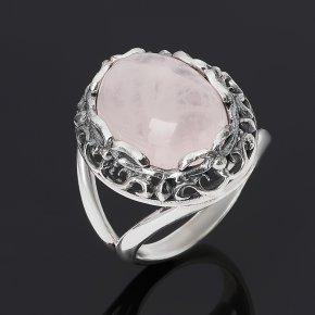 Кольцо розовый кварц Бразилия (серебро 925 пр. оксидир.) размер 18