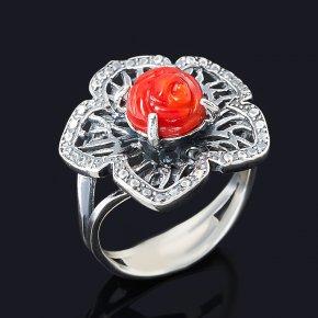 Кольцо коралл красный Индонезия (серебро 925 пр. оксидир.) размер 17,5