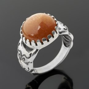 Кольцо солнечный камень Индия (серебро 925 пр. оксидир.) размер 17