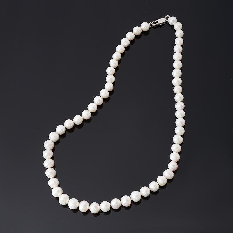 Бусы жемчуг белый Гонконг (серебро 925 пр.) 9 мм 52 см