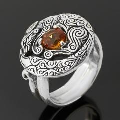 Кольцо цитрин Бразилия (серебро 925 пр. оксидир.) огранка (регулируемый) размер 16