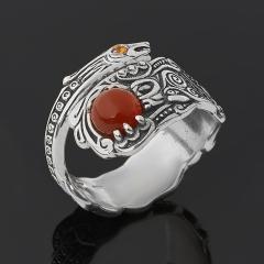 Кольцо сердолик Ботсвана (серебро 925 пр. оксидир.) (регулируемый) размер 17