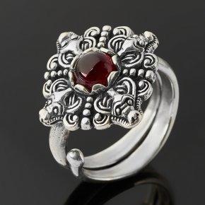 Кольцо гранат альмандин Индия (серебро 925 пр. оксидир.) (регулируемый) размер 16