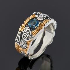 Кольцо топаз голубой Бразилия (серебро 925 пр. оксидир., позолота) огранка (регулируемый) размер 17