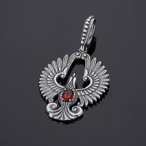 Кулон гранат альмандин Индия (серебро 925 пр. оксидир.) огранка