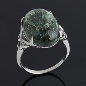 Кольцо клинохлор (серафинит) Россия (серебро 925 пр. родир. бел.) размер 19,5