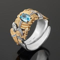 Кольцо топаз голубой Бразилия (серебро 925 пр. оксидир., позолота) огранка (регулируемый) размер 17,5