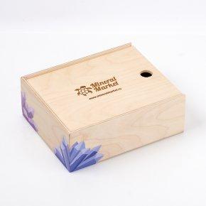 Коробка для коллекции камней (дерево) (16 ячеек) (бежевый)