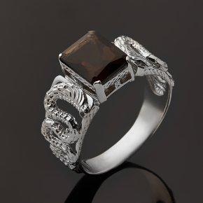 Кольцо раухтопаз Бразилия (серебро 925 пр. родир. бел.) огранка размер 19,5