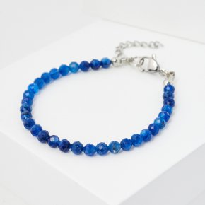 Браслет кианит синий Бразилия (биж. сплав, сталь хир.) огранка 4 мм 16 см (+3 см)