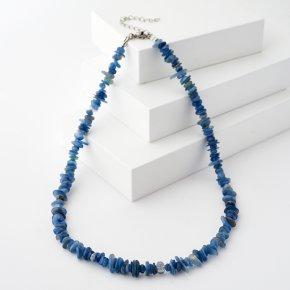 Бусы кианит синий Бразилия (биж. сплав, сталь хир.) 45 см (+7 см)