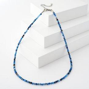 Бусы кианит синий Бразилия (биж. сплав, сталь хир.) огранка 3 мм 44 см (+7 см)