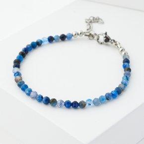 Браслет кианит синий Бразилия (биж. сплав, сталь хир.) огранка 3 мм 16 см (+3 см)