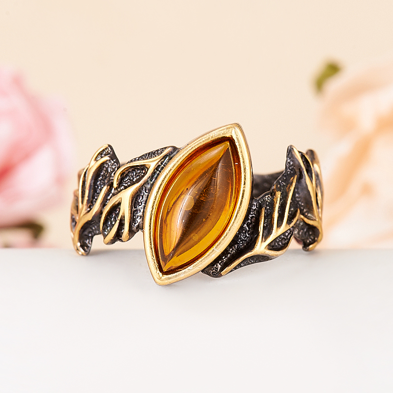 Кольцо янтарь  (серебро 925 пр., позолота, чернение) размер 19,5