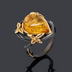 Кольцо янтарь Россия (серебро 925 пр., позолота, чернение) размер 17
