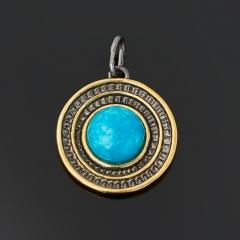 Кулон бирюза Тибет (серебро 925 пр. позолота, рутений) круг