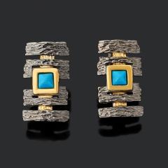 Серьги бирюза Тибет (серебро 925 пр. позолота, рутений)