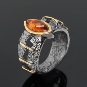 Кольцо янтарь пресс Россия (серебро 925 пр. позолота, рутений) размер 17