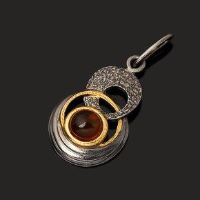 Кулон янтарь пресс Россия (серебро 925 пр. позолота, рутений)