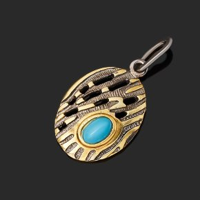 Кулон бирюза Тибет (серебро 925 пр. позолота, рутений) овал