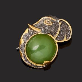 Брошь нефрит зеленый Россия (серебро 925 пр. позолота, рутений)