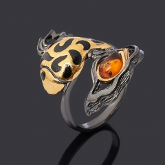 Кольцо янтарь Россия (серебро 925 пр. родир. черн. позолота) размер 17