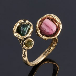 Кольцо турмалин зеленый (верделит), голубой (индиголит), розовый (рубеллит) Бразилия (бронза) (регулируемый) размер 18